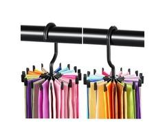 2pcs 360° Rotatable Tie Hanger Rack Adjustable Neck Ties Silk Scarf Storage Hook Organizer