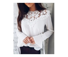 Sexy Flare Sleeve Lace Patchwork Blouse