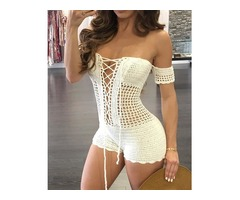 Sexy Knitted Lace-Up Hollow Out Romper