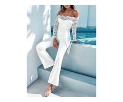 White Elegant Lace Sleeve Eyelash Wide Leg Jumpsuit Pantsuit Romper