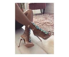 Glittering Embellished Transparent Strap Stiletto Sandals