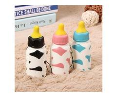 Squishy Milk Nursing Bottle Toy Cute Kawaii Phone Bag Strap Pendant 10x4cm