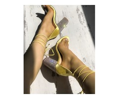 Strappy Shiny Chunky Heeled-Sandals