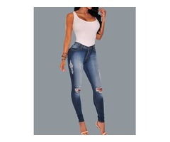 Oversize Ripped Skinny Pencil Jeans