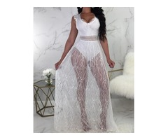 Lace Overlay Hollow Out Backless Bodysuit Dress