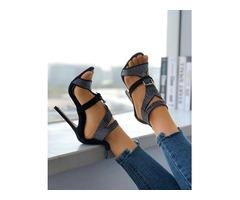 Shiny Embellished Buckle Peep-toe High Heeled Sandals