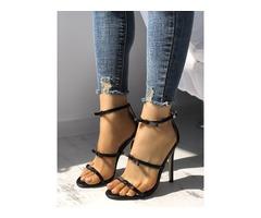 Elegant Bow Tie Ankle Strap Stiletto Sandals