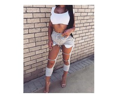 Fashion Ripped Drawstring Waist Pants