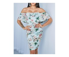 Floral Print Off Shoulder Ruffle Sheath Dress