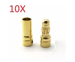 10X 5.5mm Gold Bullet Connector Banana Plug For ESC Battery Motor