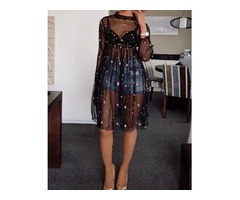 Sheer Mesh Embroidered Cover Up Dress