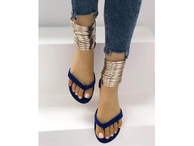 Metallic Embellished Flip Flops Platform Sandals | free-classifieds.co.uk