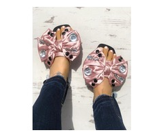 Exaggerated Bowknot Shiny Decorated Flat Sandals