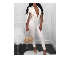 Woman Deep V Cloak Double Breasted Jumpsuit