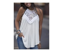 Solid Crochet Hollow Out Halter Casual Blouse