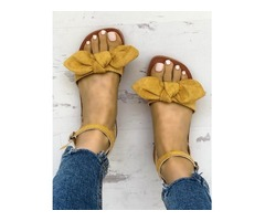 Solid Denim Bow Decorate Sandals