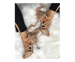 Crisscross Bandage Tassel Open Toe Stiletto Sandals
