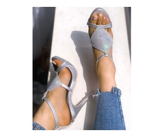 Glittering Open Toe Hollow Out Stiletto Sandals