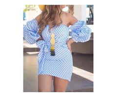 Striped Off Shoulder Puff Sleeve Tie Waist Mini Dress