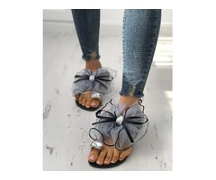 Fashion Cute Big Bow Tie Sandals Non Slip Flat Sandals