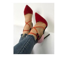 Splicing Lace-up Buckle Point Toe Pump Shoes