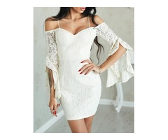 Sexy Ruffled Sleeve Off Shoulder Lace Dress