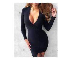Asymmetric Deep V Long Sleeve Bodycon Dress