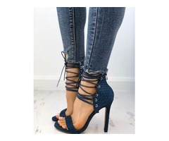 Stylish Peep Toe Lace-up Stiletto Sandals | free-classifieds-canada.com