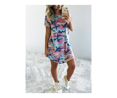 Camo Short Sleeve Casual T-shirt Dress