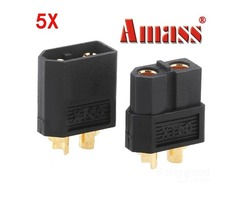 5 Pairs Black XT60 Bullet Connector Plugs for RC Battery