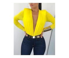 Deep V Long Sleeve Solid Color Bodysuit