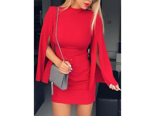 Solid Slit Long Sleeve Belted Sheath Dress | free-classifieds.co.uk