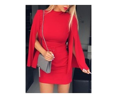 Solid Slit Long Sleeve Belted Sheath Dress