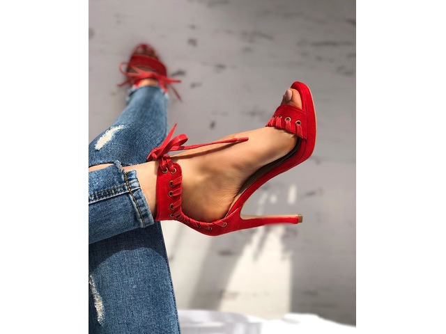 Stylish Eyelet Tied Thin Heel Sandals. Pattern Type:Plain Material:PU Heel Hight: 11cm Shaft Hight: 8cm Package Include: 1*Woman Sandals | free-classifieds-canada.com