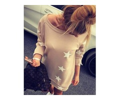 Casual Star Print Boat Neck Casual Dress