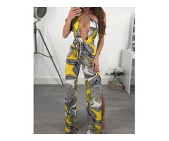 Print Side Split CrissCross Halter Wide Leg Jumpsuit