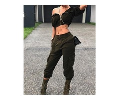 Fashion Zipper Crop Top And Pocket Capri Pants Set