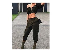 Fashion Zipper Crop Top And Pocket Capri Pants Set