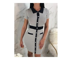 Contrast Color Striped Button Design bodycon Dress