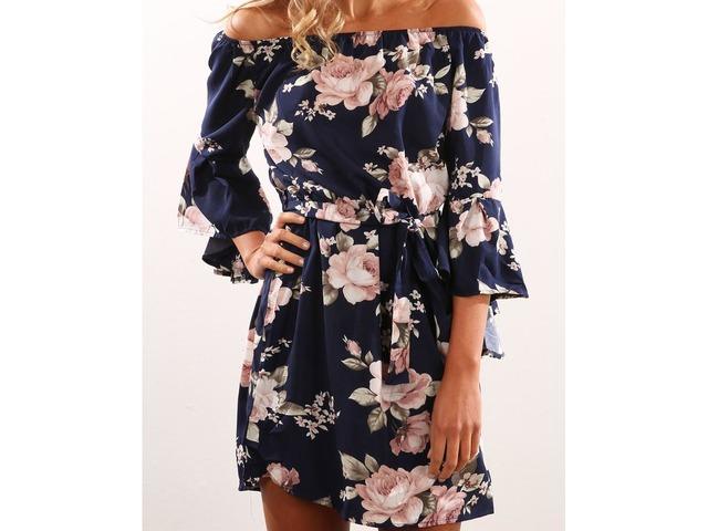 Flare Sleeve Floral Print Mini Dress. Style:Casual,Sexy Pattern Type:Printed Material:Polyester Neckline:Slash Neck Sleeve Style:Half Sleeve Package Include: ... | free-classifieds-canada.com