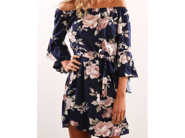 Flare Sleeve Floral Print Mini Dress | free-classifieds.co.uk