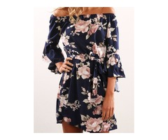 Flare Sleeve Floral Print Mini Dress