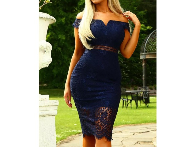 Elegant Off Shoulder Lace Sheath Midi Dress. Style:Sexy Pattern Type:Solid Material:95%Polyester+5%Spandex Neckline:Off Shoulder Sleeve Style:Short Sleeve Decoration... | free-classifieds-canada.com