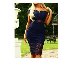 Elegant Off Shoulder Lace Sheath Midi Dress