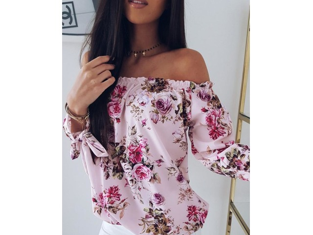Off Shoulder Shirring Floral Print Loose Blouse | free-classifieds.co.uk