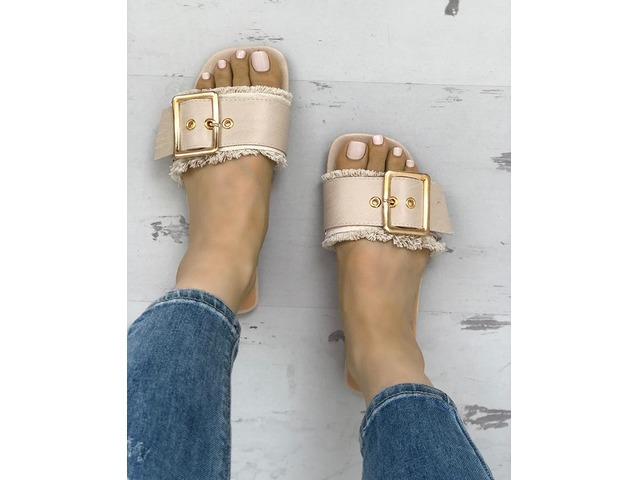 Trendy Belted Buckle Open Toe Flat Sandals. Style:Fashion Pattern Type:Patchwork Material:PU Occasion:Casual Package Include:1* Sandals Package Include: 1*Woman Fla... | free-classifieds-canada.com