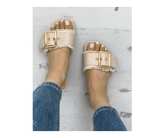 Trendy Belted Buckle Open Toe Flat Sandals | free-classifieds.co.uk
