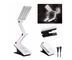24 LED Foldable 360 Rotatable Rechargeable Reading Desk Table Clip-on Light
