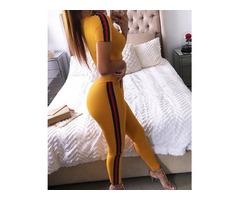 Contrast Color Stripes Cropped Skinny Pantsuit