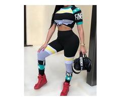 Color Block Short Sleeve Slinky Pants Set